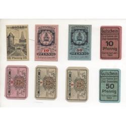 NOTGELD - DANNENBERG - 8 different notes - 5 & 10 & 50 pfennig (D002)