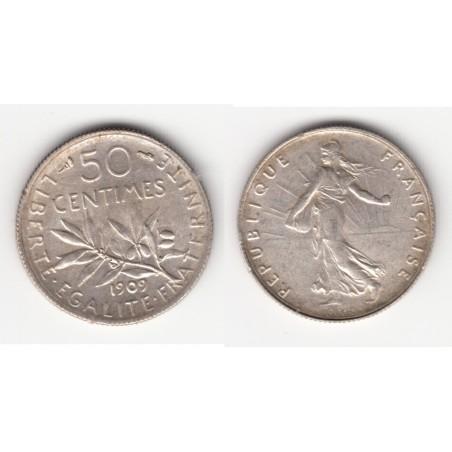 50 CENTIMES SEMEUSE  1909  SUP    50C022