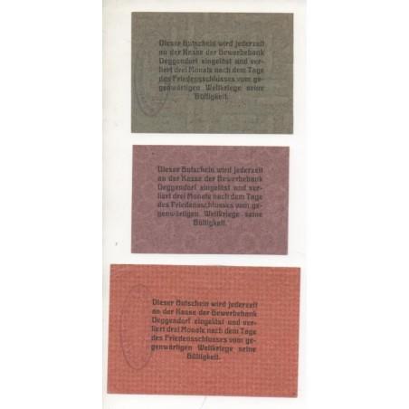 NOTGELD - DEGGENDORF - 3 different notes 10 & 25 & 50 pfennig (D014)