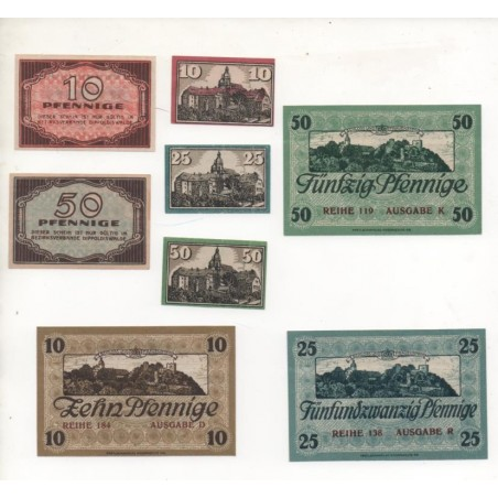 NOTGELD - DIPPOLDISWALDE - 8 different notes - 10 & 25 & 50 pfennig (D023)