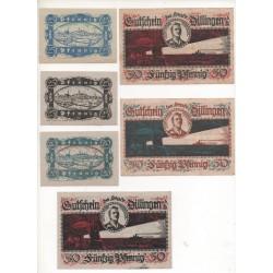 NOTGELD - DILLIGEN - 6 different notes 20 & 25 & 50 pfennig (D024)