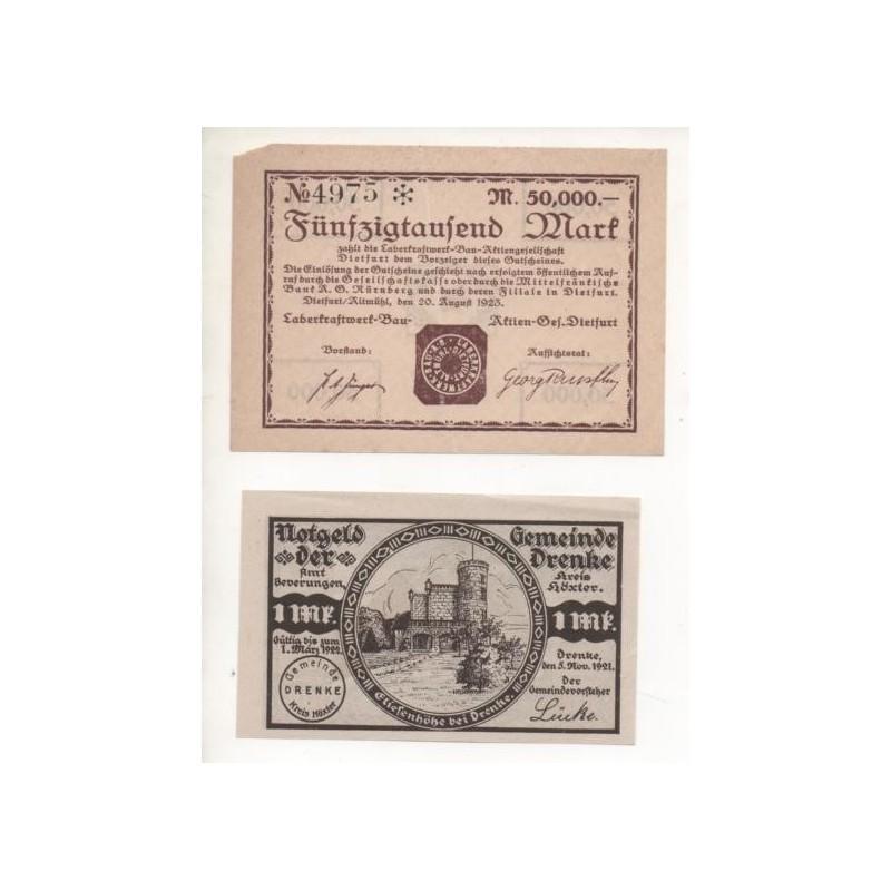 NOTGELD - DIETFURT - 2 different notes - 50,000 mark & 1 mark (D030)