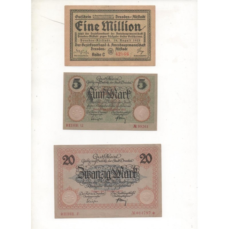 NOTGELD - DRESDEN - 3 different notes - 5 & 20 & 1,000,000 mark (D054)