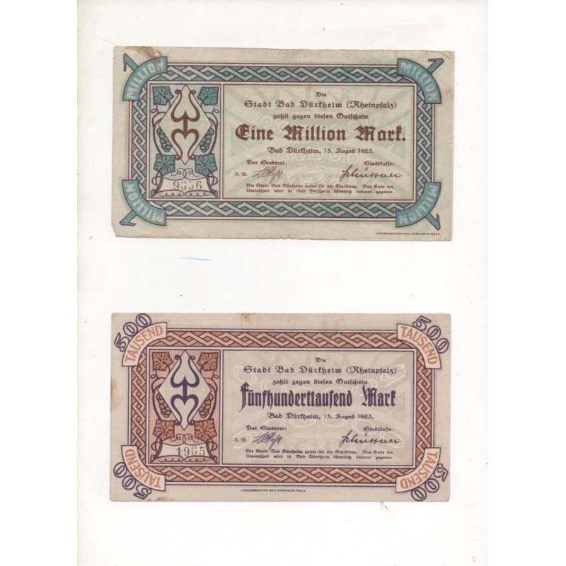 NOTGELD - 4 different notes 500 & 100 & 1 million mark (D056)