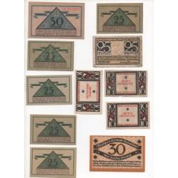 NOTGELD - DUSSERDORF - 10 different notes  10 & 25 & 50 pfennig (D074)
