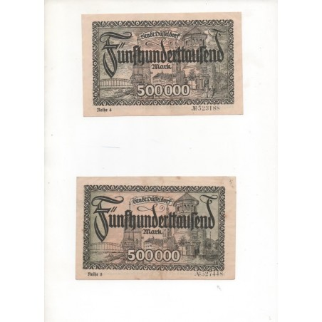 NOTGELD - DÜSSELDORF - 2 notes 500,000 mark - With & without characters (D081)