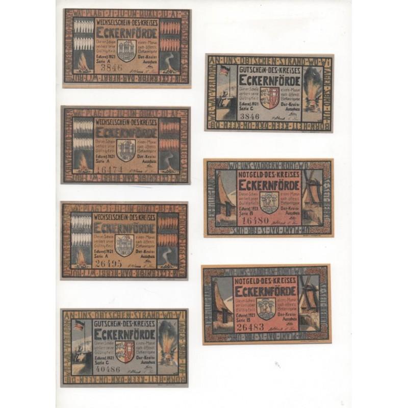 NOTGELD - ECKERNFORDE - 7 different notes - 4 & 5 numbers - 50 pfennig & 1 mark (E006)