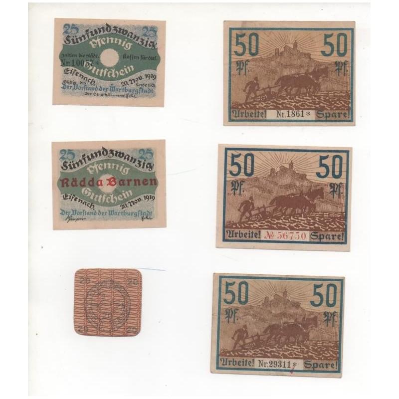 NOTGELD - EISENBACH - 6 different notes - 25 & 50 pfennig (E017)