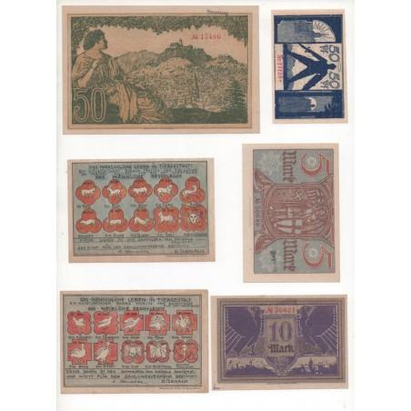 NOTGELD - EISENACH - 6 different notes 50 pfennig 5 & 10 & 50 mark (E018)