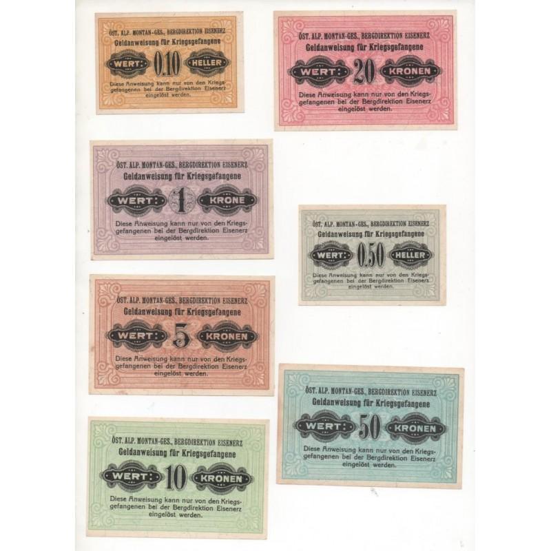 NOTGELD - EISENERZ - AUTRICHE - 7 different notes - Prisonnier - RARE (E023)