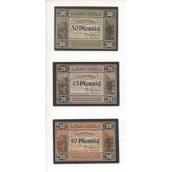 NOTGELD - EPPELBORN - 3 different notes 10 & 25 & 50 pfennig (E044)