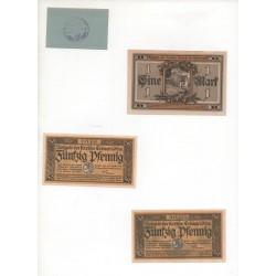 NOTGELD - ERBACH - 4 different 10 & 50 pfennig & 1 mark (E045)