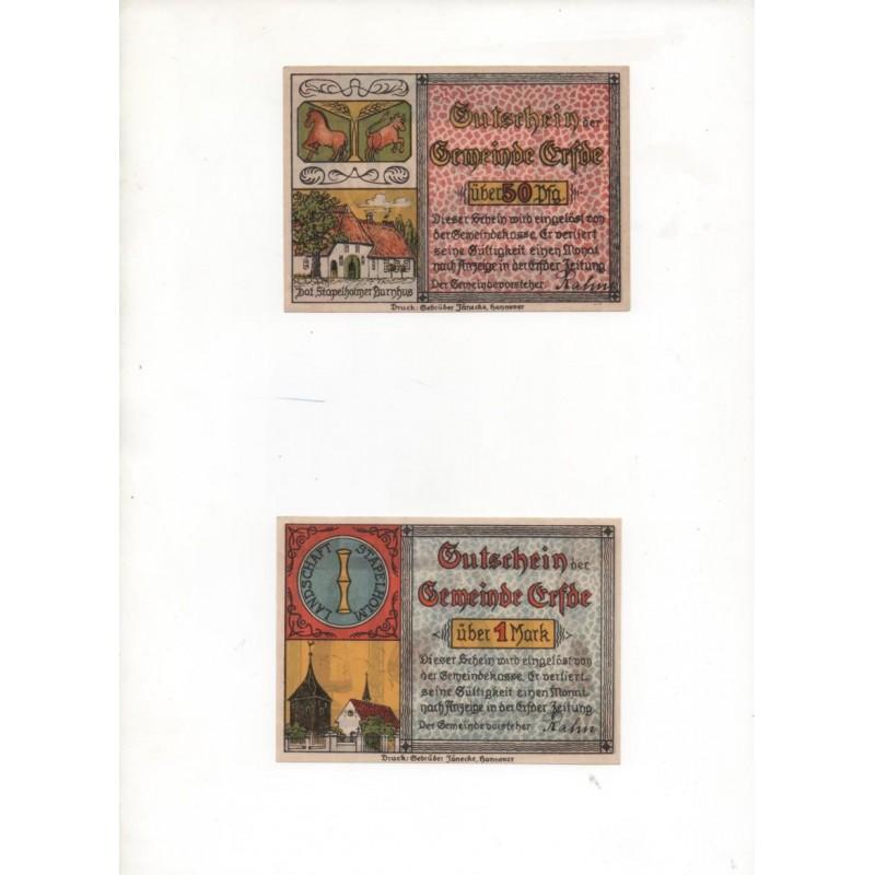NOTGELD - ERFDE - 2 different notes - 50 pfennig & 1 mark (E047)