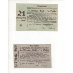 NOTGELD - ERFURT - 2 different notes - 4,2 & 21 pfennig GOLD - 1923 (E048)