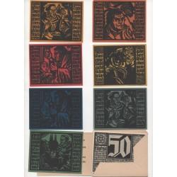 NOTGELD - ERFURT - 7 notes + enveloppe 50 pfennig - 2 series + 1 - 1921 (E053)