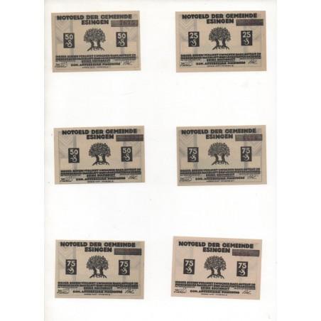 NOTGELD - ESINGEN - 12 different notes - 25 & 50 & 75 pfennig (E061)