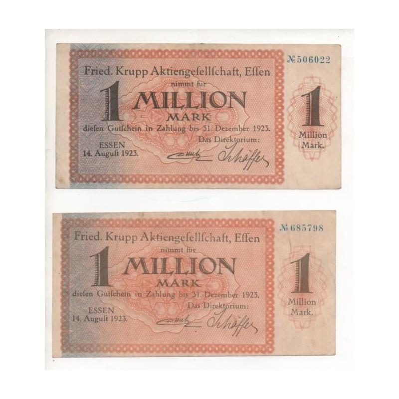 NOTGELD - ESSEN - 2 notes - 1 million mark (E072)