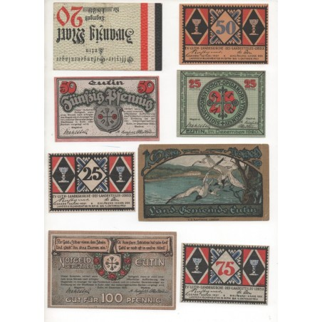 NOTGELD - EUTIN - 8 different notes 20 & 25 & 50 & 100 pfennig (E079)