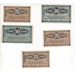 NOTGELD - FALLINGBOSTEL - 6 different notes - 25 & 50 pfennig (F003)