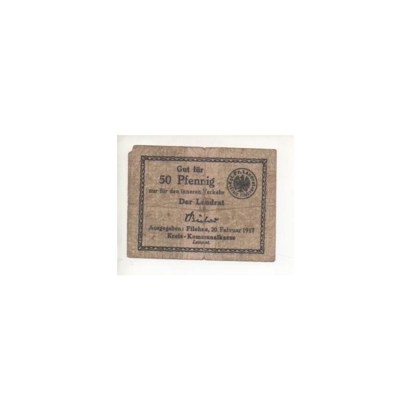 NOTGED - FILEHNE - 50 pfennig - RARE - 1917 (F004)