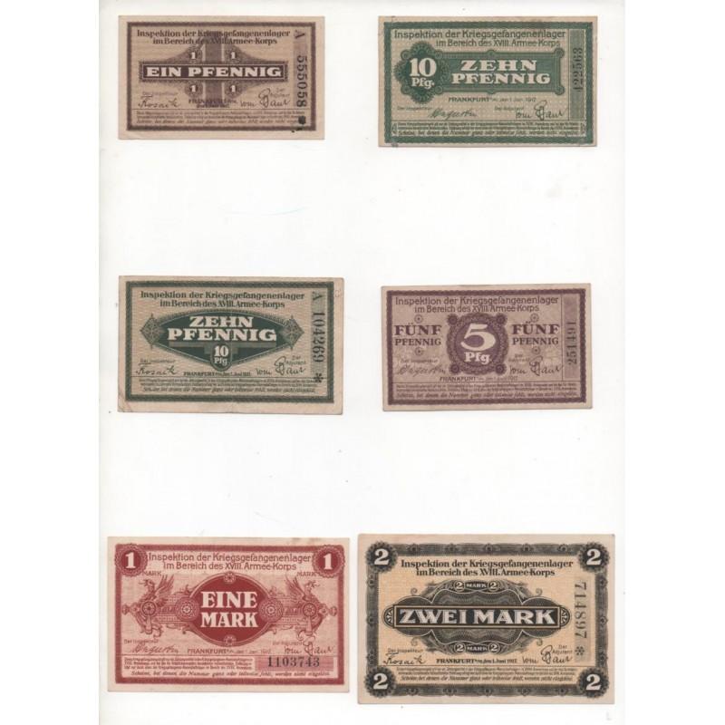 NOTGELD - FRANKFURT - 6 different notes (F016)