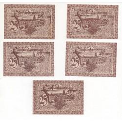 NOTGELD - FRANKFURT - 5 different notes - 25 pfennig (F018)