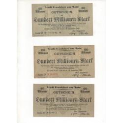 NOTGELD - FRANKFURT - 9 different notes - 100 millionen - 1923 (F031)