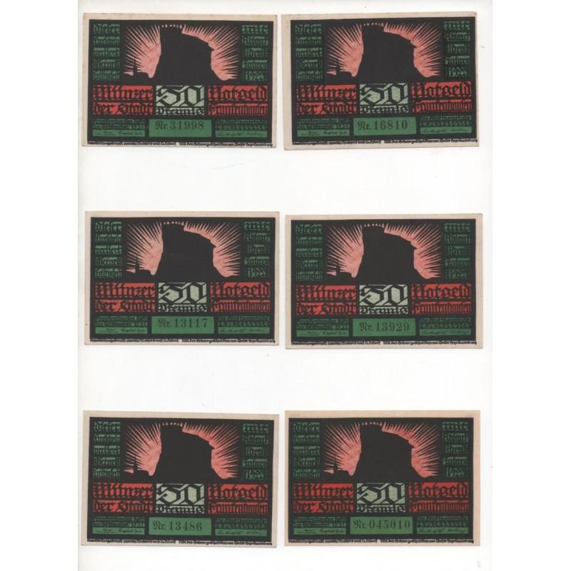 NOTGELD - FRANKHAUSEN - 11 different notes 50 pfennig - avec et sans filigrane (F042)