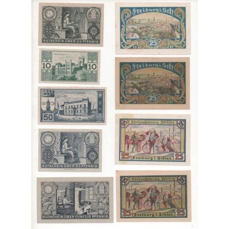 NOTGELD - FREIBURG - 15 different notes - 10 & 25 & 50 pfennig (F048)