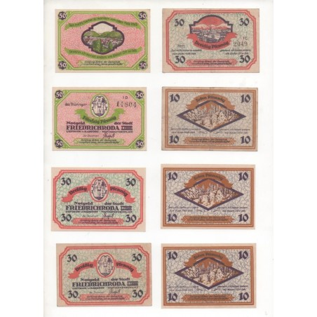 NOTGELD - FRIEDRICHRODA - 11 different notes 10 & 30 & 50 pfennig (F050)