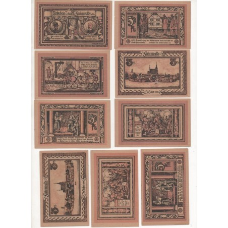 NOTGELD - FREIENWALDE - 9 different notes 25 & 50 pfennig (F060)