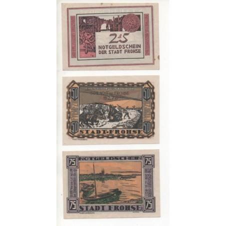 NOTGELD - FROHSE - 3 different notes - 25 & 50 & 75 pfennig  (F068)