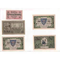 NOTGELD - ERFURT - 10 different notes - 25 & 50 & 75 & 100 pfennig (E051)
