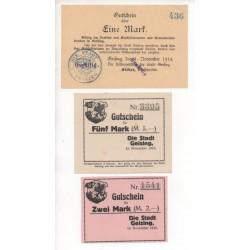 NOTGELD - GEISING - 3 different notes - 1914-1918 (G012)