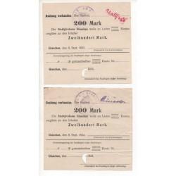 NOTGELD - GLAUCHAU - 2 different notes - 1922 (G044)
