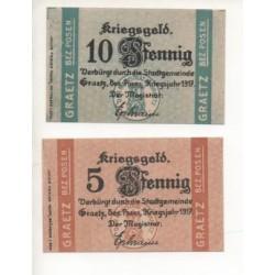 NOTGELD - GRAETZ - 2 different notes - 1917 (G079)