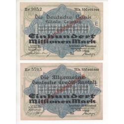 NOTGELD - LEIPZIG - 2 different notes - 1923 (L042 B)