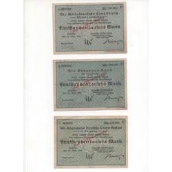 NOTGELD - LEIPZIG - 3 different notes - VARIANTE - 1923 (L049)