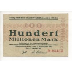 NOTGELD - MÜHLHAUSEN - 100 millionen mark (M078)