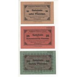 NOTGELD - MUNCHBERG - 3 different notes - 1917 - RARE (M094)