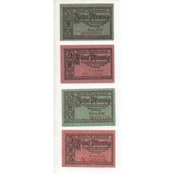 NOTGELD RATHENAW - 4 different notes - VARIANTE numéros (R014)