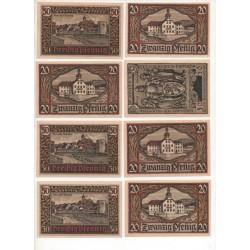 NOTGELD  REMDA - 8 different notes - noir & rouge numbers (R033)