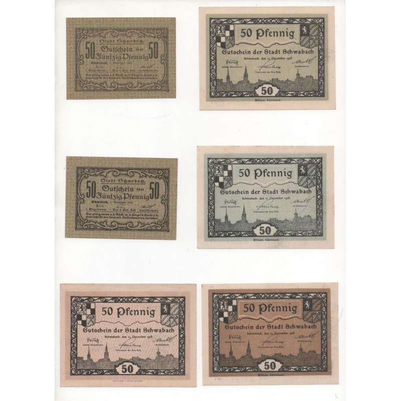 NOTGELD SCHWABACH - 6 different notes - VARIANTE (S042)