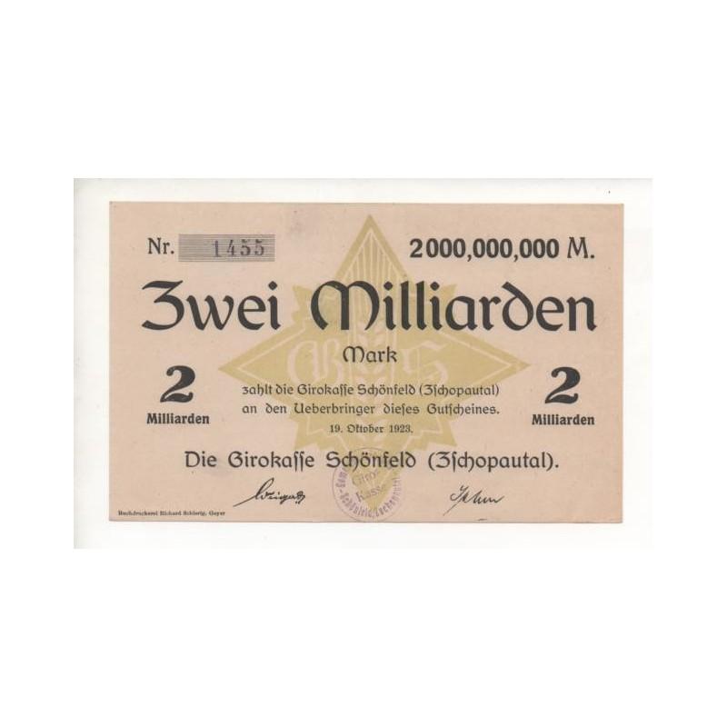 NOTGELD SCHONFELD - 2 milliarden mark (S068)