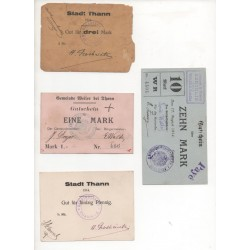 NOTGELD  THANN - 4 different notes - ALSACE (T015)