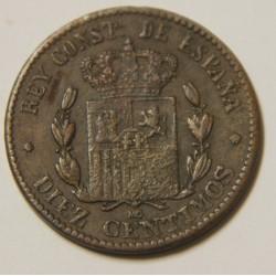ERROR ERREUR FAUTEE 10 centimos 1879 MO  Alfonso XII