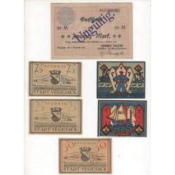 NOTGELD VEGESACK - 6 different notes (V003)