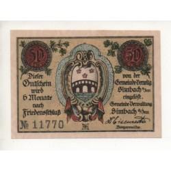 NOTGELD SIMBACH - 50 pfennig (S098)