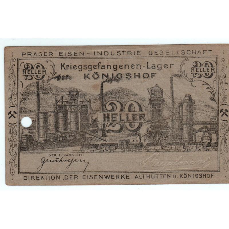 NOTGELD - KÖNIGSHOF - 20 heller - AUTRICHE - 1916 - RARE (K078)