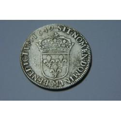 QUART 1/4 ECU LOUIS XIV 1649 M TOULOUSE MECHE LONGUE